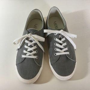 Lauren Grey Linen Sneakers 8.5 Jolie